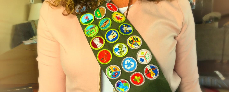 Mom waering Boy Scout sash