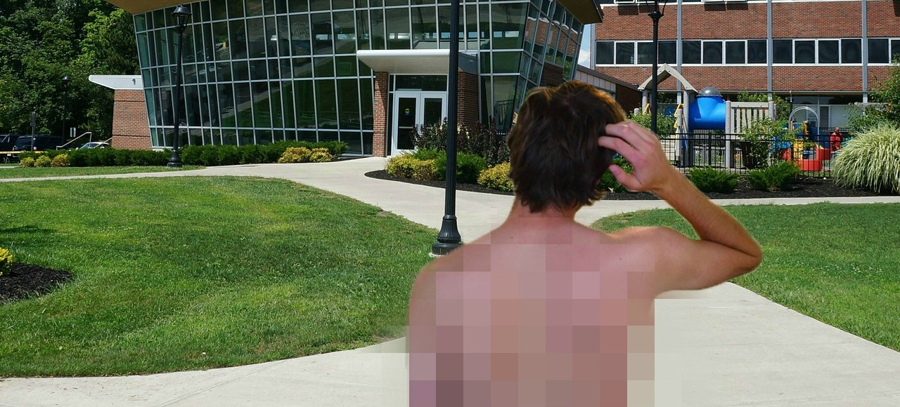 Pixelated half-naked student